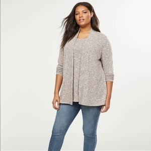 Light Pink and Grey Metallic Open Front Sweater